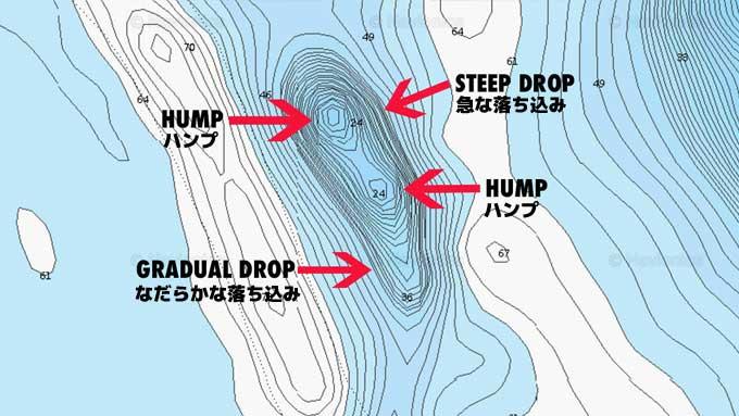 マップから読み解く:冬にバスが釣れる地形とは