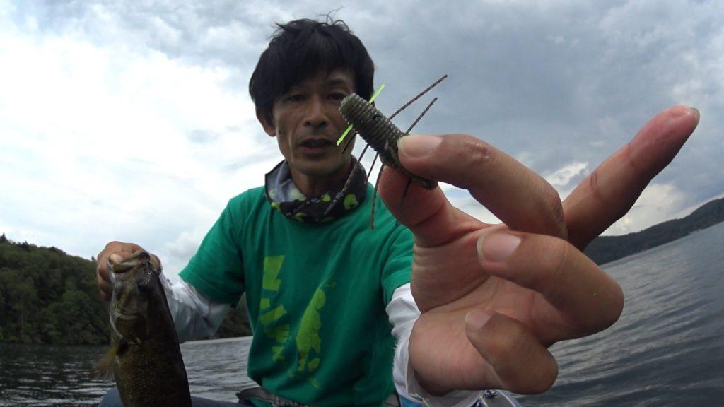 7月の野尻湖バス釣りレポ:沈み虫とキャロシャッドでナイスサイズ